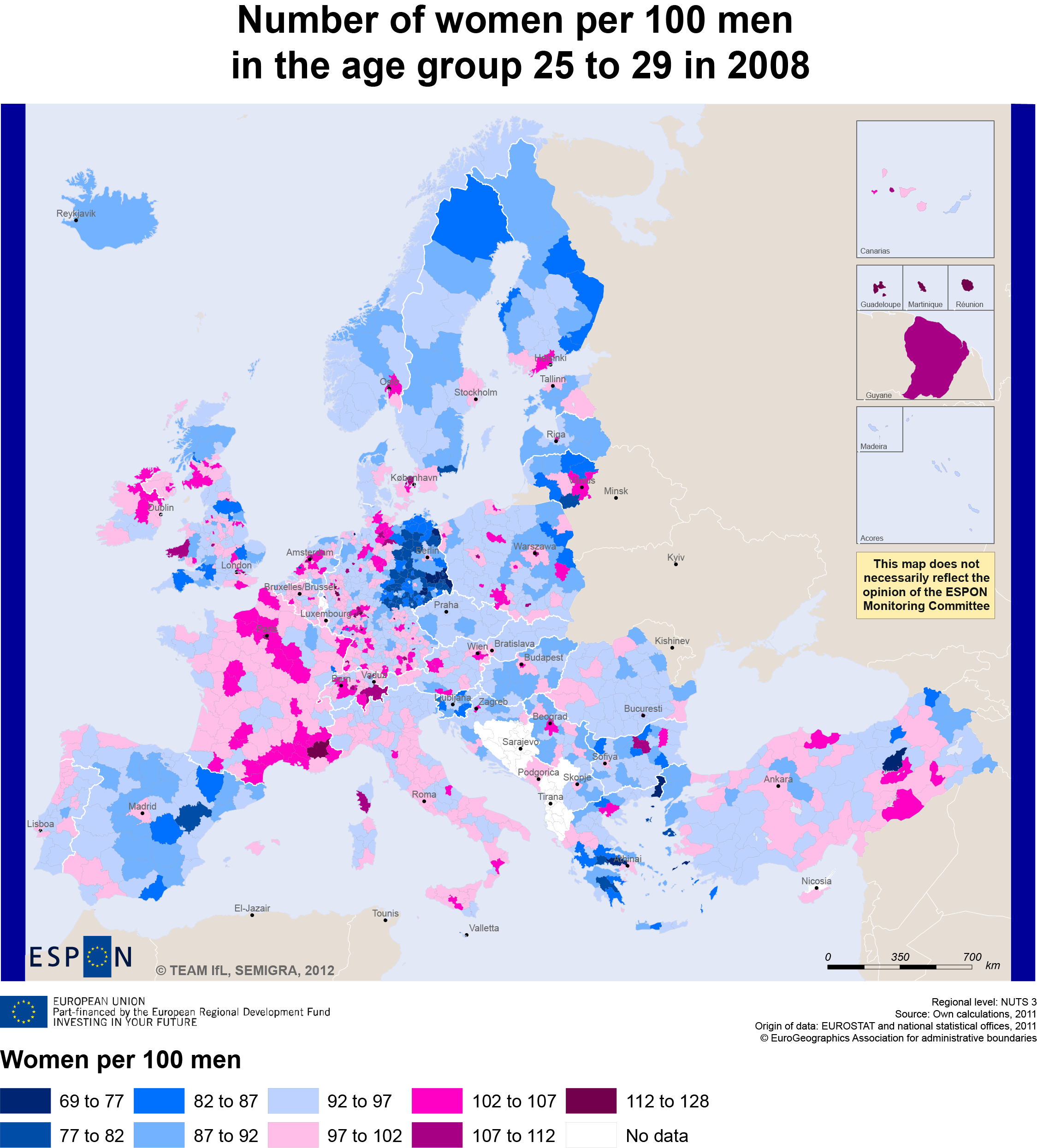 Number of women per 100 men in the age group 25 to 29 in 2008