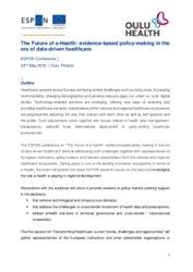 espon.eu - eHEALTH - Future Digital Health in the EU